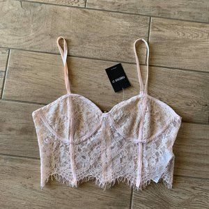 NWT Forever 21 blush lace corset lingerie top